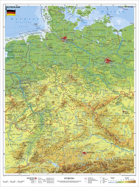 Deutschland, physisch 1 : 1 100 000. Wandkarte Kleinformat ohne Metallstäbe als Buch