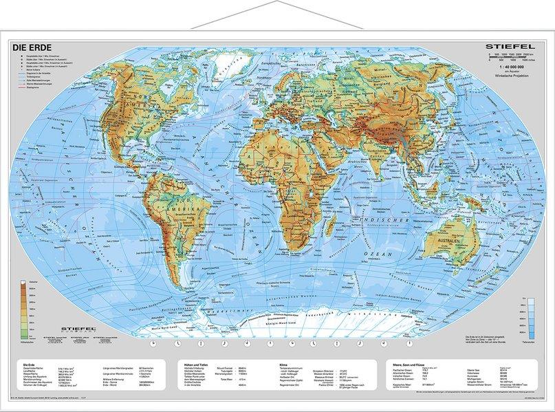 Die Erde, physisch 1 : 40 000 000. Wandkarte Kleinformat mit Metallstäben als Buch