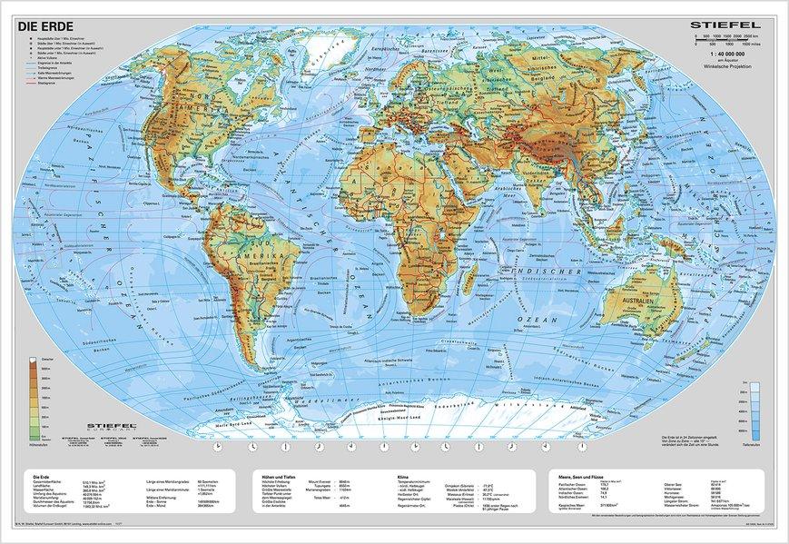 Die Erde, physisch 1 : 40 000 000. Wandkarte Kleinformat ohne Metallstäbe als Buch