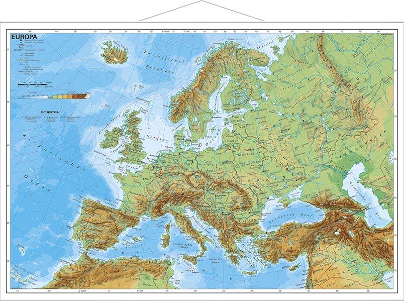 Europa, physisch 1 : 7 500 000. Wandkarte Kleinformat mit Metallstäben als Buch