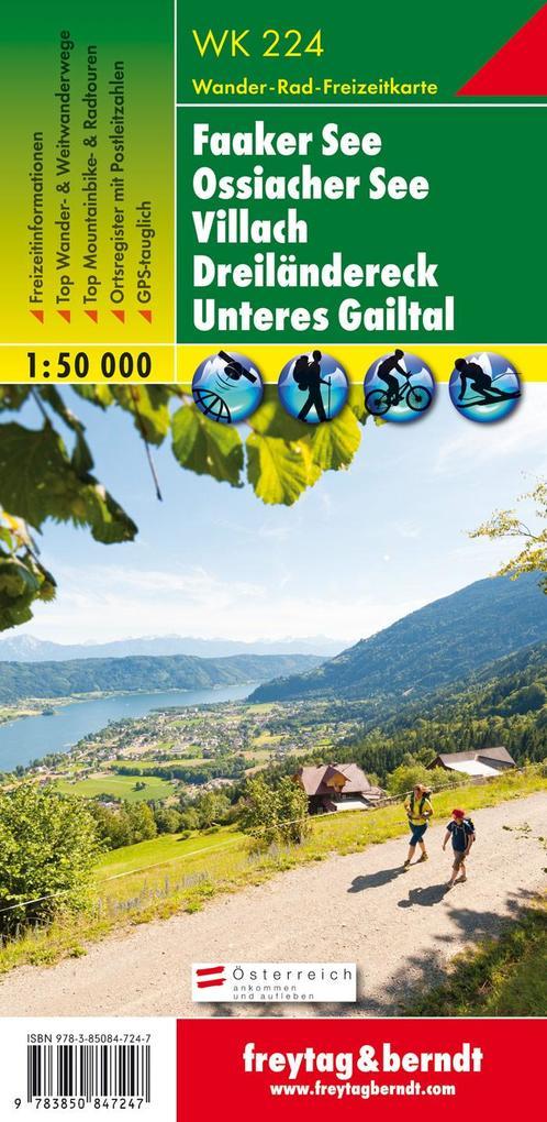 WK 224 Faaker See - Ossiacher See - Villach - Dreiländereck - Unteres Gailtal, Wanderkarte 1:50.000 als Blätter und Karten