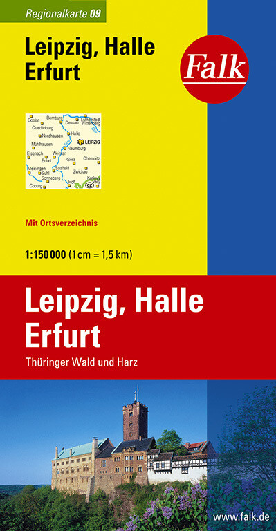 Falk Regionalkarte 09. Leipzig, Halle, Erfurt. 1 : 150 000 als Buch