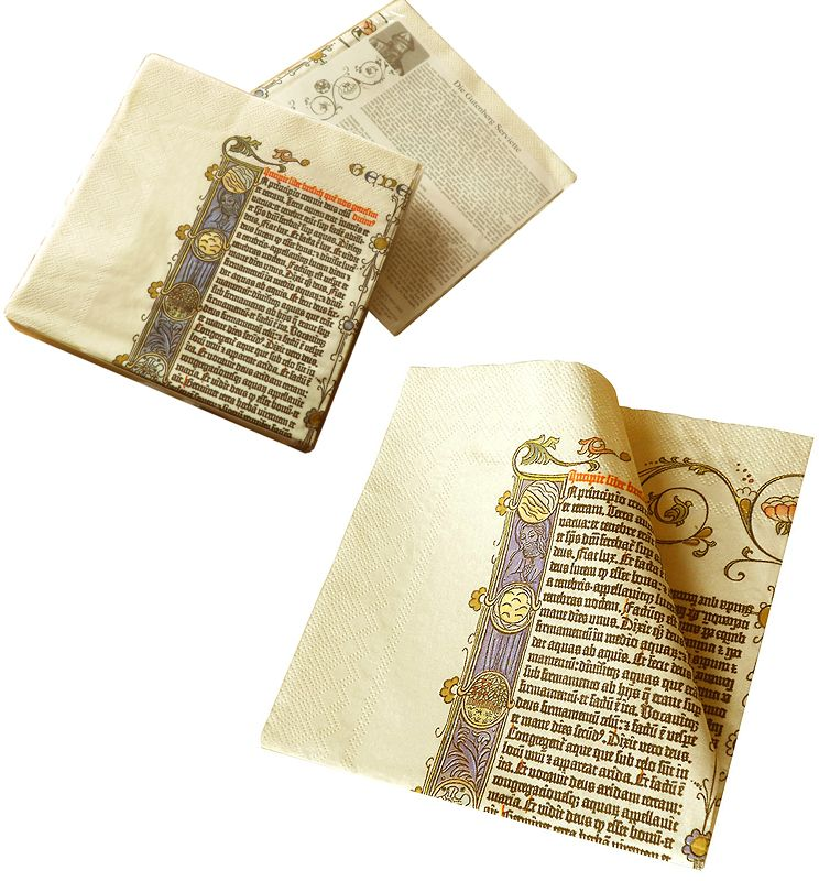 Metermorphosen - Die Gutenberg Serviette - Die erste Bibelseite bei Tisch als Spielwaren