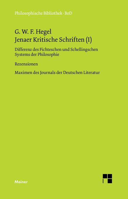 Jenaer Kritische Schriften (I) als Buch