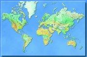Hildebrands Weltkarte. Die Welt. Poster-Karte