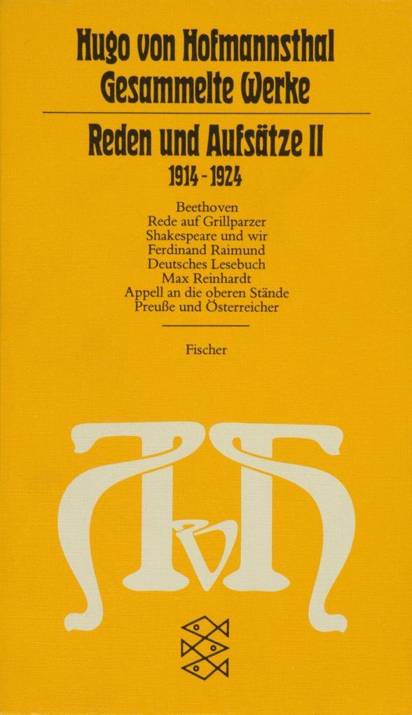Reden und Aufsätze II. (1914 - 1924) als Taschenbuch