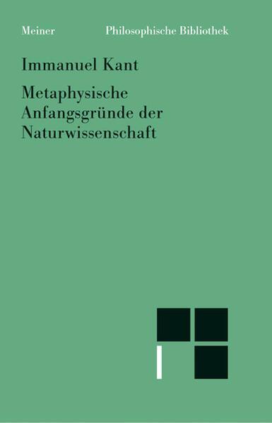 Metaphysische Anfangsgründe der Naturwissenschaft als Buch