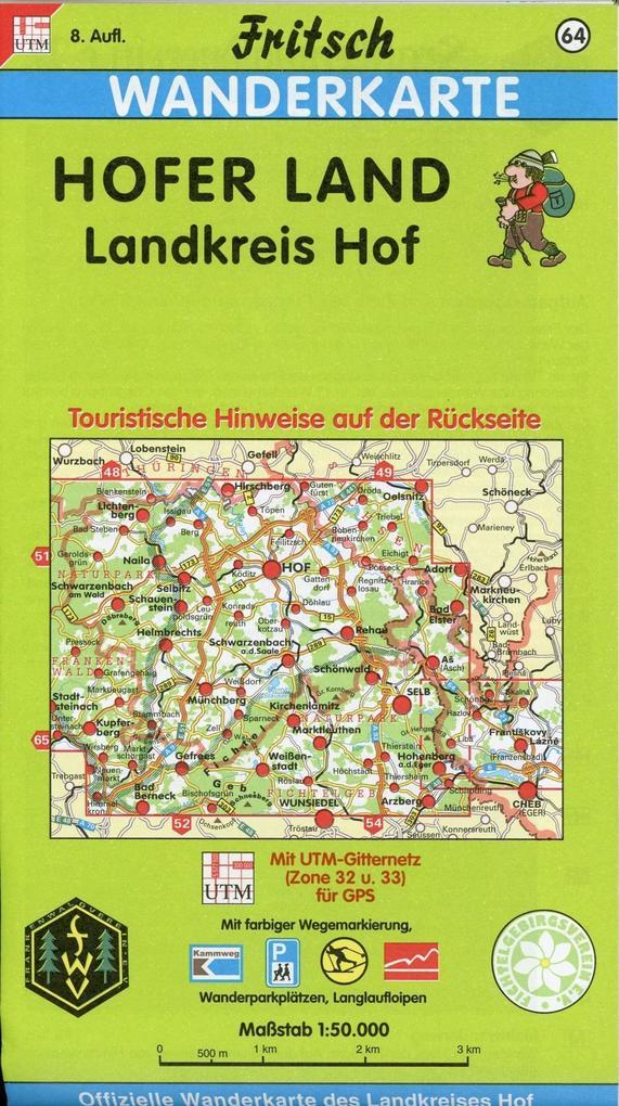 Hofer Land, Landkreis Hof 1 : 50 000. Fritsch Wanderkarte als Buch