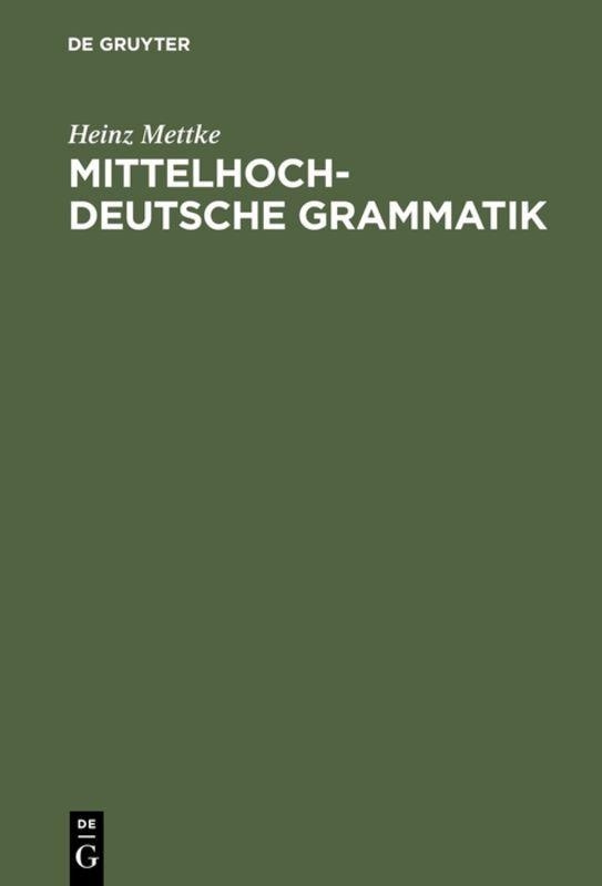 Mittelhochdeutsche Grammatik als Buch