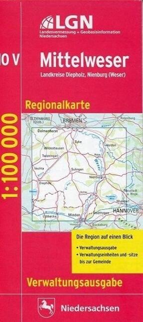 Mittelweser 1 : 100 000. Regionalkarte 10 Verwaltungsausgabe als Buch