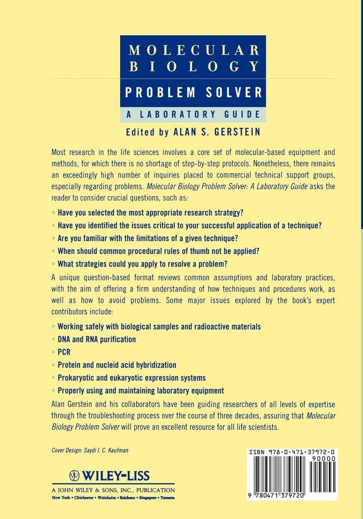 Molecular Biology Problem Solver: A Laboratory Guide als Buch