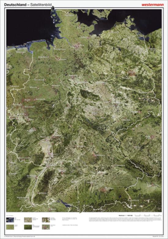 Posterkarten Geographie: Deutschland Satelliten...