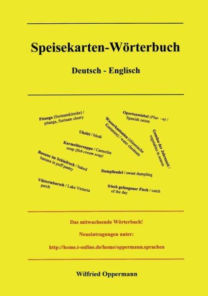 Speisekarten Wörterbuch Deutsch / Englisch als Buch
