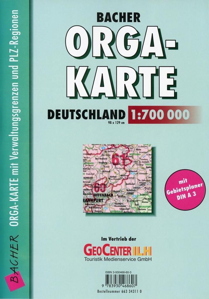 Bacher Orga-Karte Deutschland 1 : 700 000. Gefaltet in Schutzhülle als Buch