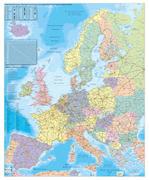 Europa Organisationskarte 1 : 3 600 000. Wandkarte Großformat mit Metallstäben