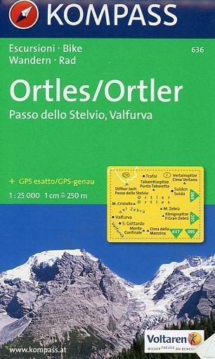 Carta escursionistica n. 636. Trentino, Veneto. Ortles, Passo dello Stelvio, Valfurva 1:25.000. Adatto a GPS. Digital map. DVD-ROM als Buch