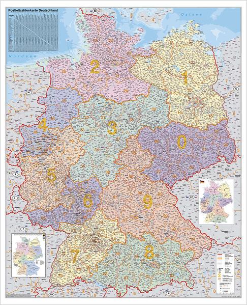 Deutschland Postleitzahlenkarte Kleinformat. Wandkarte ohne Metallstäbe als Buch