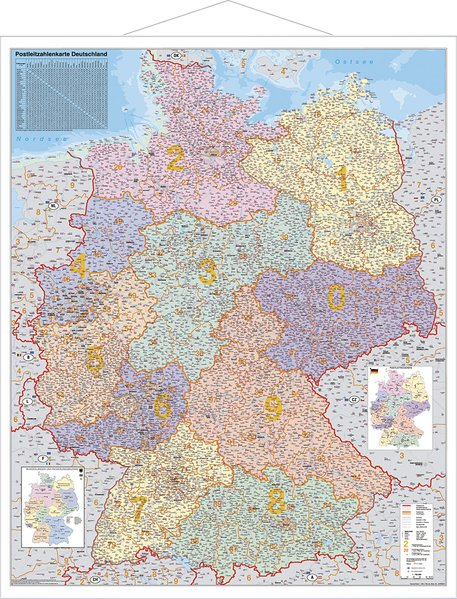 Postleitzahlen-Karte Deutschland 1 : 1 000 000. Wandkarte Kleinformat mit Metallstäben als Buch