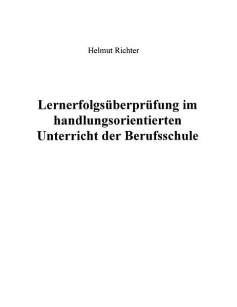 Lernerfolgsüberprüfung im handlungsorientierten Unterricht der Berufsschule als Buch