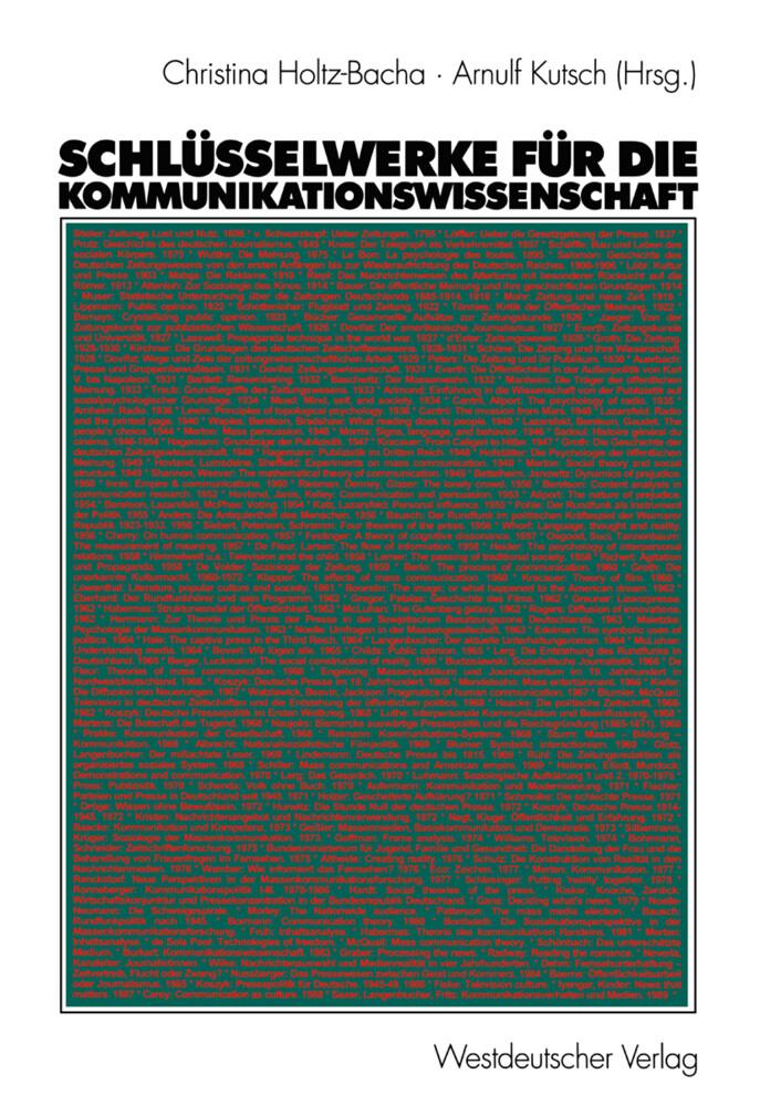 Schlüsselwerke für die Kommunikationswissenschaft als Buch