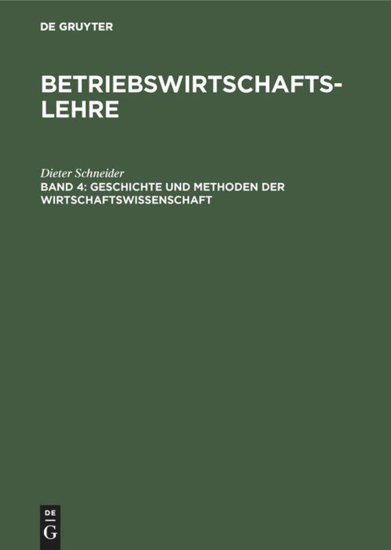 Geschichte und Methoden der Wirtschaftswissenschaft als Buch