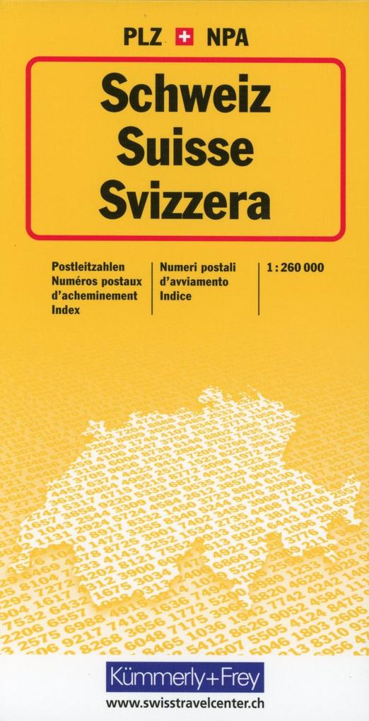 KuF Schweiz Postleitzahlenkte 1 : 260 000. Postleitzahlenkarte als Buch