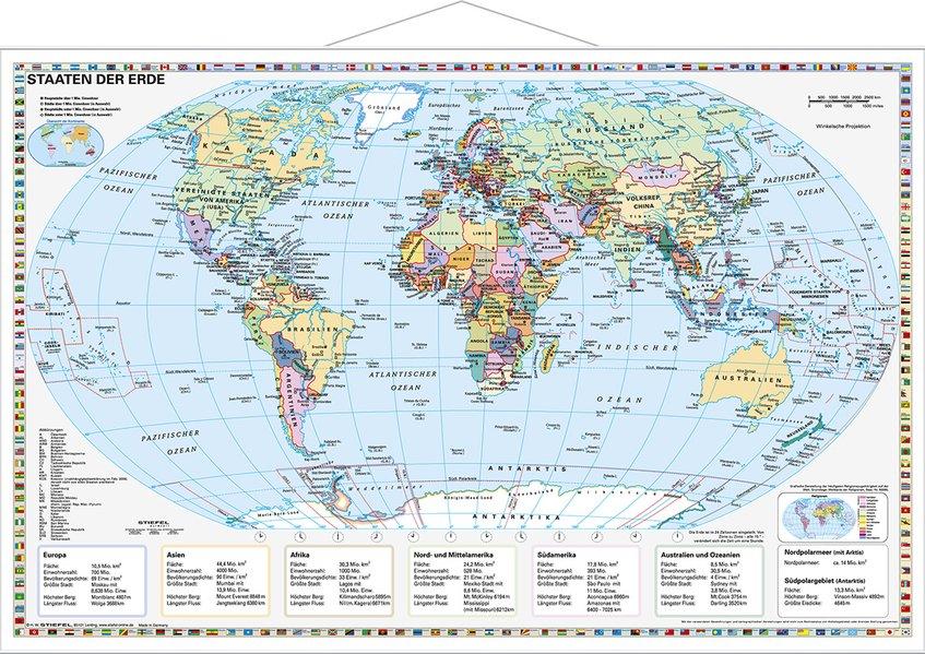 Staaten der Erde, politisch 1 : 40 000 000. Wandkarte Kleinformat mit Metallstäben als Blätter und Karten