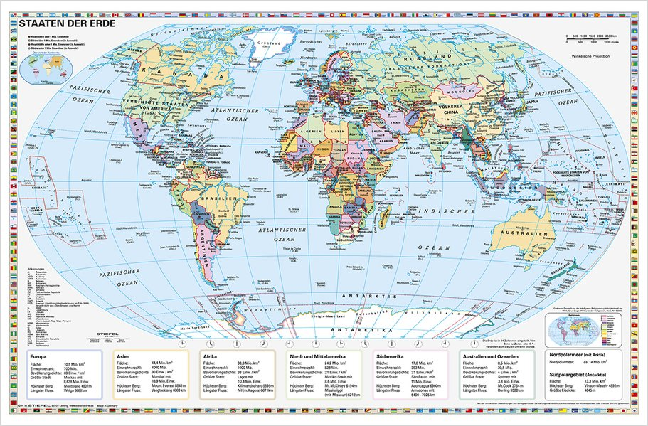Staaten der Erde, politisch 1 : 40 000 000. Wandkarte Kleinformat ohne Metallstäbe als Buch