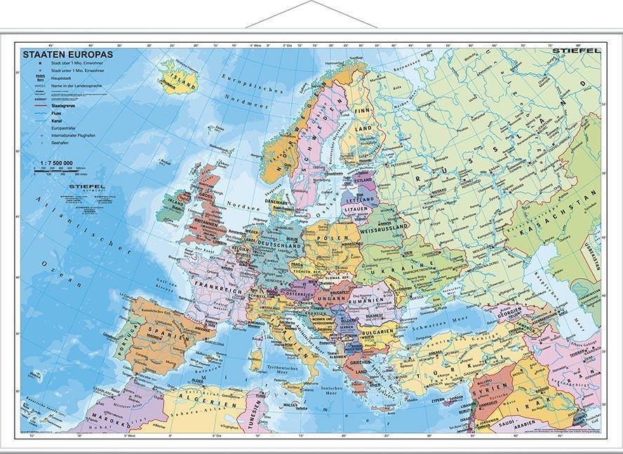Staaten Europas, politisch 1 : 7 200 000. Wandkarte Kleinformat mit Metallstäben als Buch
