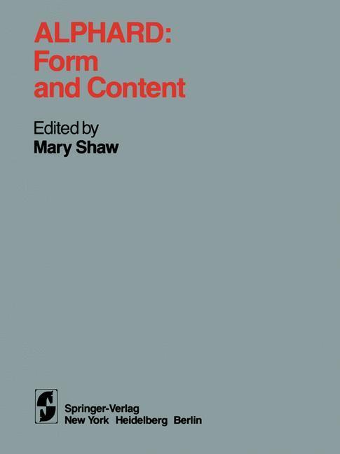 Alphard: Form and Content als Buch von