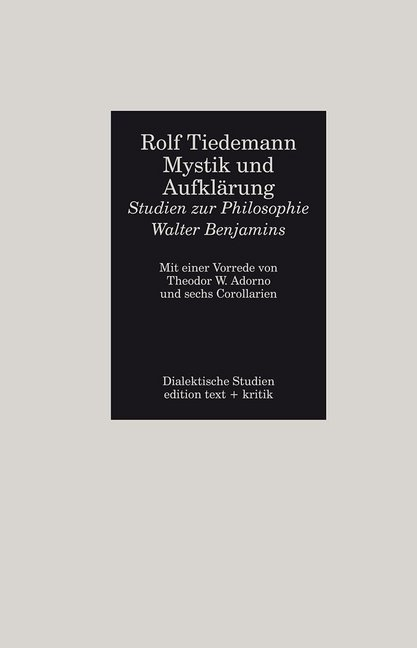 Mystik und Aufklärung - Studien zur Philosophie Walter Benjamins als Buch