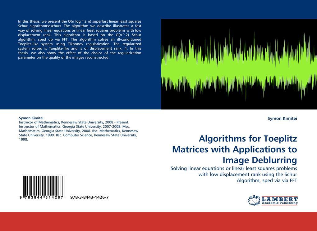 Algorithms for Toeplitz Matrices with Applicati...