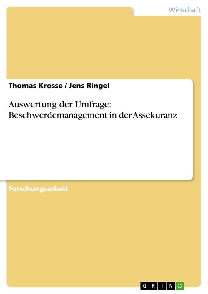 Auswertung der Umfrage: Beschwerdemanagement in...