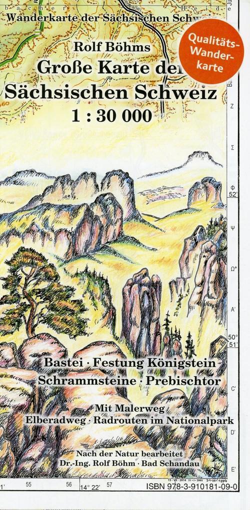 Große Karte der Sächsischen Schweiz 1 : 30 000 ...