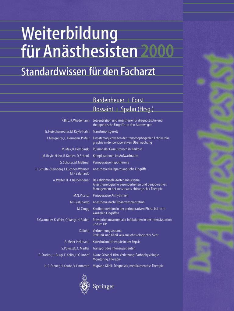 Weiterbildung für Anästhesisten 2000 als Buch