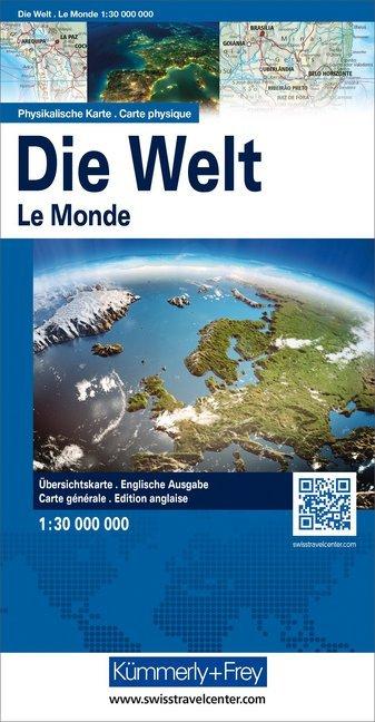 Kümmerly+Frey Karte Die Welt, Physikalische Karte, 1 : 30 Mio.. The World, Physical Map, 1 : 30 Mio. als Blätter und Karten