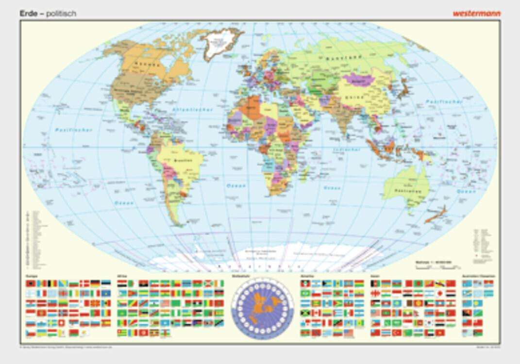 Posterkarten Geographie: Staaten mit Flaggen als Buch