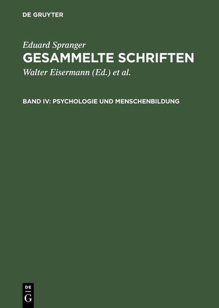 Psychologie und Menschenbildung als Buch von Ed...
