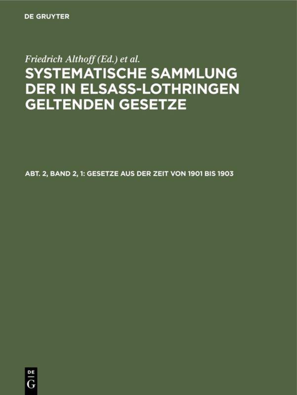 Gesetze aus der Zeit von 1901 bis 1903 als Buch (gebunden)