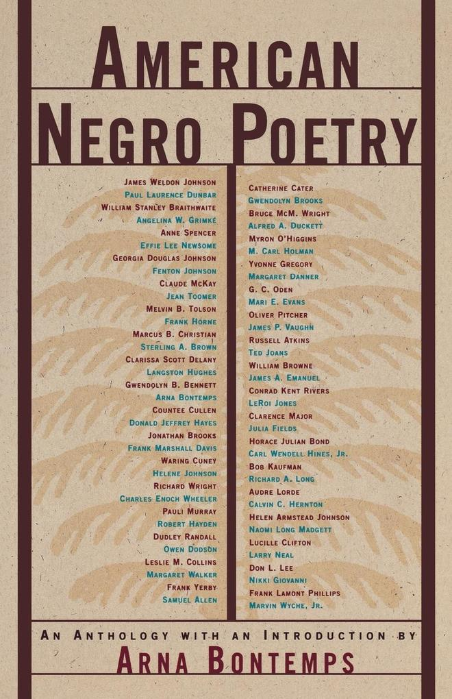 American Negro Poetry: An Anthology als Taschenbuch