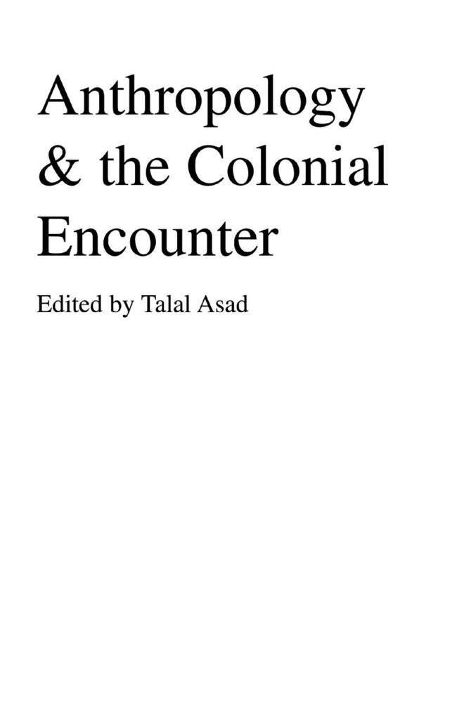 Anthropology & The Colonial Encounter als Taschenbuch