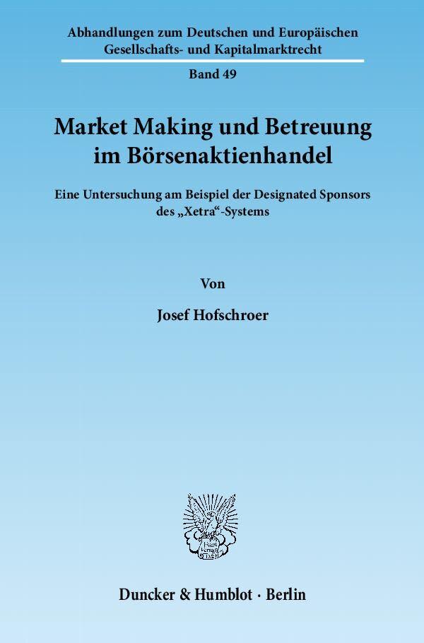 Market Making und Betreuung im Börsenaktienhand...