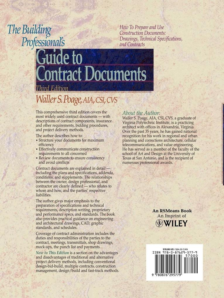 The Building Professional's Guide to Contracting Documents als Taschenbuch