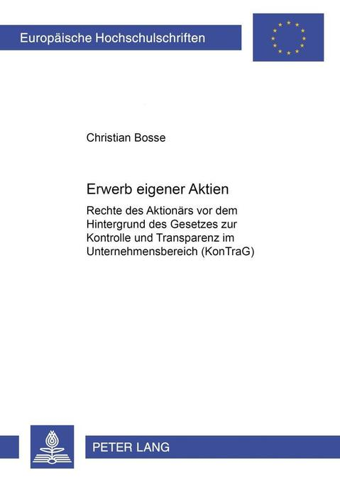 Erwerb eigener Aktien als Buch von Christian Bosse