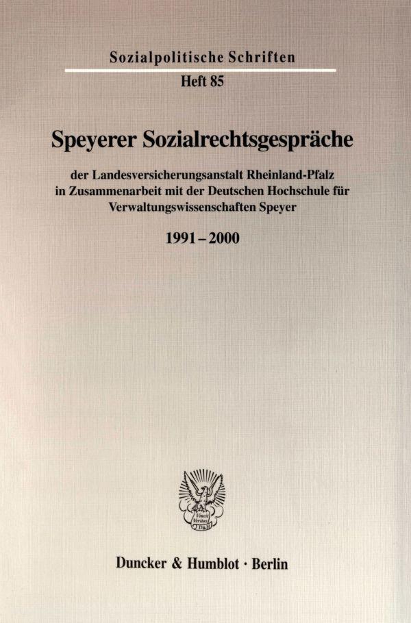 Speyerer Sozialrechtsgespräche als Buch von Lan...