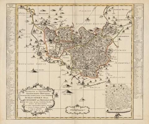 Historische Karte: Grafschaft Henneberg 1755 mi...
