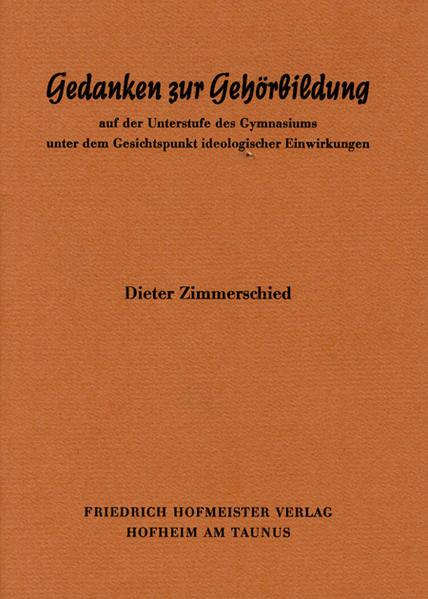 Gedanken zur Gehörbildung als Buch von Dieter Z...