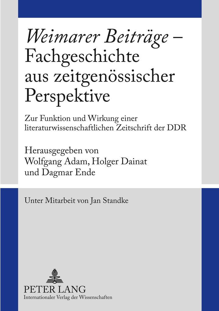 Weimarer Beiträge - Fachgeschichte aus zeitgenö...