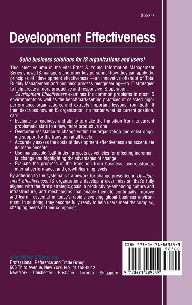 Development Effectiveness: Strategies for Is Organizational Transition als Buch