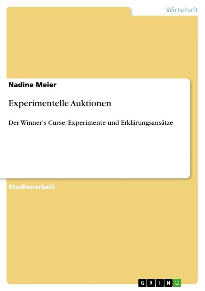 Experimentelle Auktionen als eBook Download von...